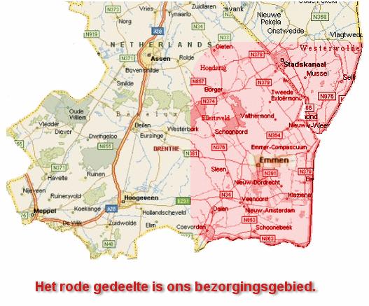 Kaart van Drenthe/ groningen